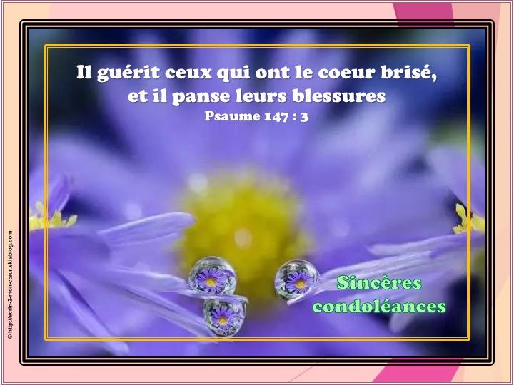 Sincères condoléances - Psaume 147 : 3