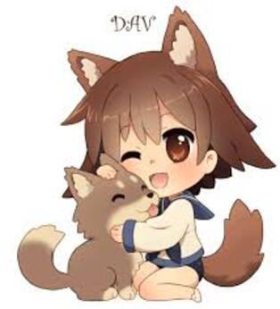Fille chien et chiot