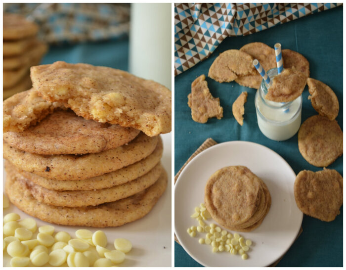 White Chocolate Chip Snickerdoodle Cookies