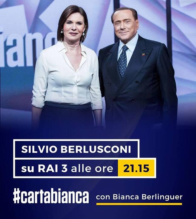 SILVIO BERLUSCONI SUR RAI 3 AVEC CARTABIANCA  -ITALIE-