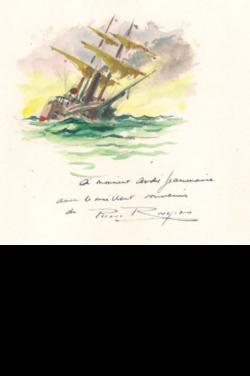 Gouache aquarellée originale représentant un voilier sur page in-4, avec envoi aut. sign. de son vrai nom (Pierre Rousseau).