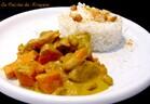 Curry de porc au lait de coco, cacahuète et patate douce