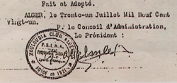 les Statuts du MCA le 31 juillet 1921