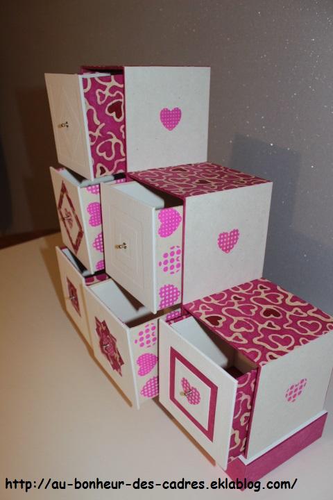 Cartonnage : coffret  à 6 tiroirs à secrets