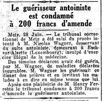 Wagner - Le Guérisseur antoiniste (Le Petit journal 29 juin 1927)
