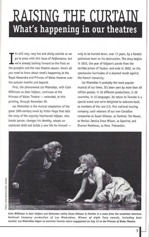Les Miserables - Toronto - Brochure - 1998 - Colm Wilkinson - Susan Gilmour
