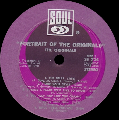 "The Originals : Album "" Portrait Of The Originals "" Soul Records SS 724 [ US ]"