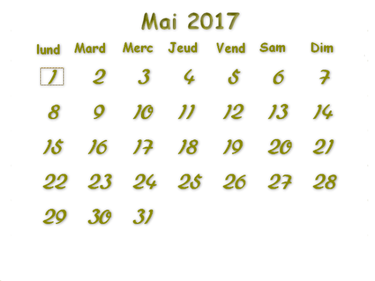 Calendrier Sissi