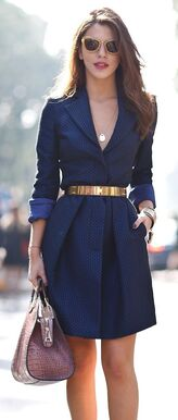 Navy Dress with Gold Metal Belt: