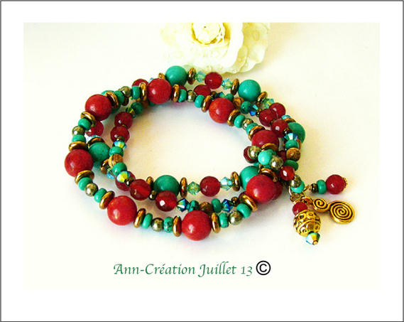 Bracelet Elastique 3 rangs Turquoise, Corail, Cornaline, Pyrite, Jaspe
