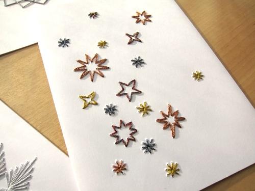 carte brodée étoiles