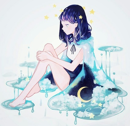 Image de anime, girl, and stars