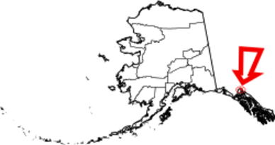 Map of Alaska highlighting Skagway