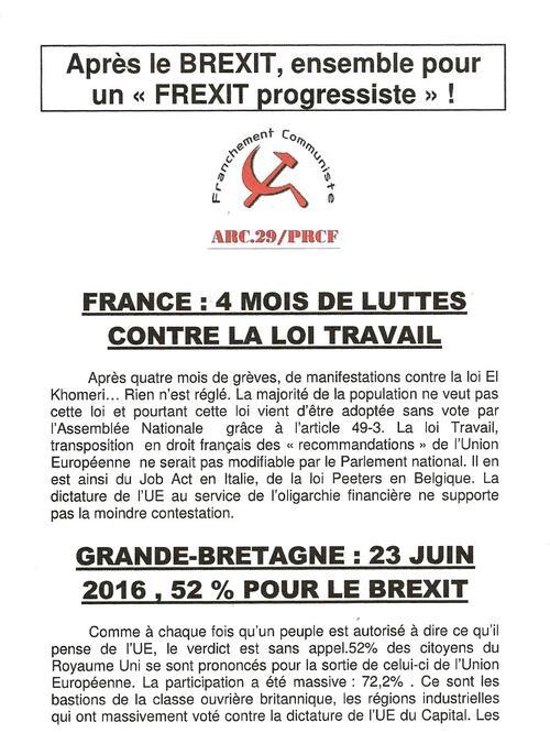 Avec les communistes exigeons un referendum pour la sortie de la France de la zone €uro et de l'Union européenne, pour un frexit progressiste.