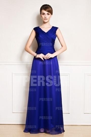 Robe simple mère de la mariée haute moulante bleu royal col en V plissé