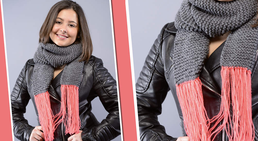 Tricot : un modèle d'écharpe au point mousse