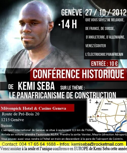 Kemi Seba en conférence à Genève le 27 octobre 2012