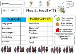 PLANS DE TRAVAIL - PERIODE