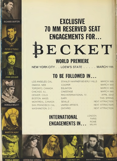 BECKET BOX OFFICE USA 1964