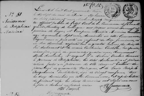 Acte de naissance de Josephine ANTOINE le 17 juin 1843