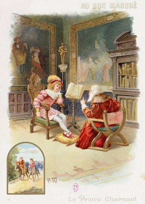 Carte publicitaire illustrée d'une scène extraite du Prince Charmant de Mme Leprince de Beaumont