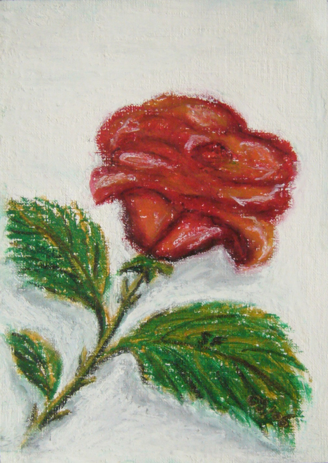 Rose rouge, pastel gras