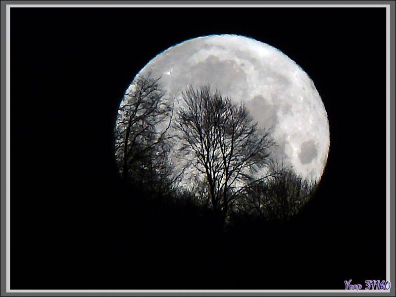 Coucher (24/01/2016, 7 h 45) de la presque pleine Lune du 24/01 à 1 h 45 vue au lever (7 h 33) du Soleil