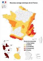 Carte des zones sismiques