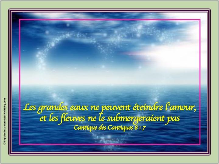 Les grandes eaux ne peuvent éteindre l'amour - Cantique des cantiques 8 : 7