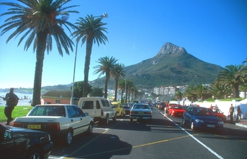 cpt camps bay beach with lions head b