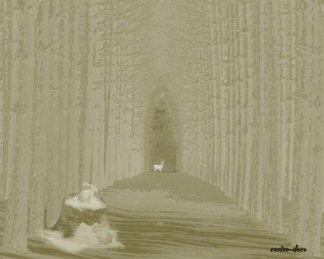 design sous bois en hiver