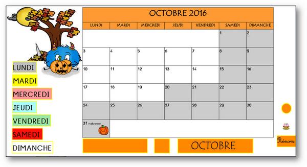 TBI - Rituel de la date-calendrier octobre 2016