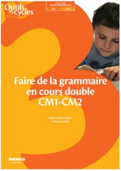 Faire de la grammaire au CM1-CM2