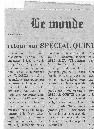 ARTICLE SUR SPECIAL QUINTE+