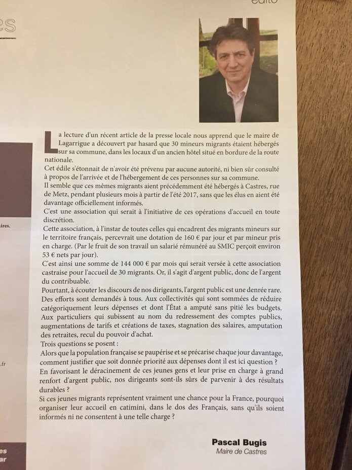Tarn : Le maire (DVD) de Castres, Pascal Bugis, refuse que les Français payent pour les migrants