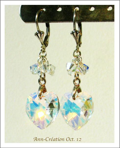 Boucles Dormeuses Coeurs Cristal de Swarovski Incolore AB / Argent 925