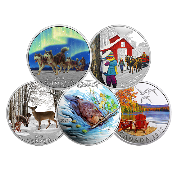 1/2 oz. Pure Silver Coloured 5-Coin Subscription - Iconic Canada (2017) |  The Royal Canadian Mint
