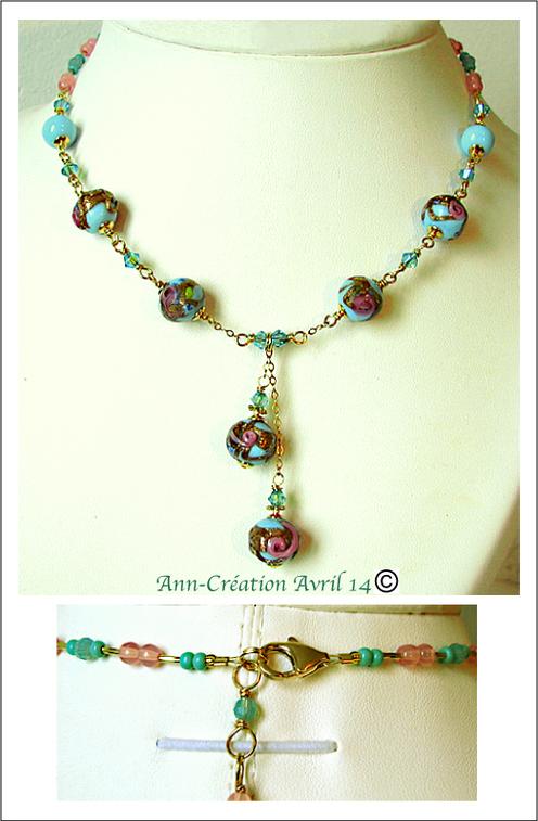 Collier Perles de Venise anciennes Bleu ciel & Or fleurs roses / Plaqué Or Gold Filled