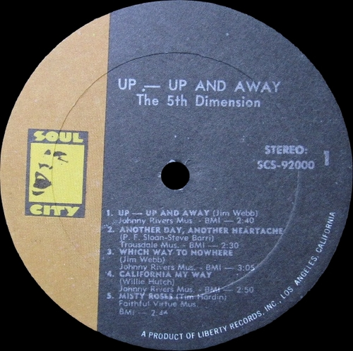 "The 5th Dimension : Album "" Up , Up And Away "" Soul City Records SCS 92000 [ US ]"