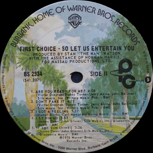"First Choice : Album "" So Let Us Entertain You "" Philly Groove Records BS 2934 [ US ]"