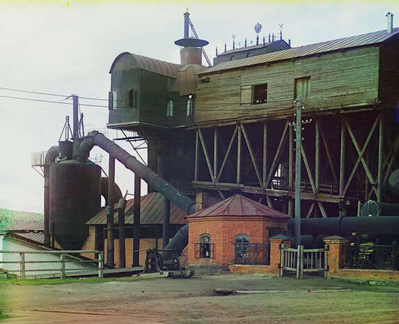 Blast furnaces at the Satkinskii factory 1910.Views in the Ural Mountains, survey of industrial area, Russian Empire photo 20646v-1.jpg