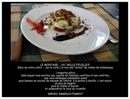 """""""Mille feuilles"""" de tomates confites, mousses de chèvre frais et crème d'avocat, saupoudré d'un crumble de noix"""