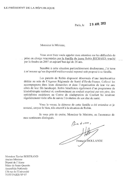 COURRIER PRESIDENT DE LA REPUBLIQUE