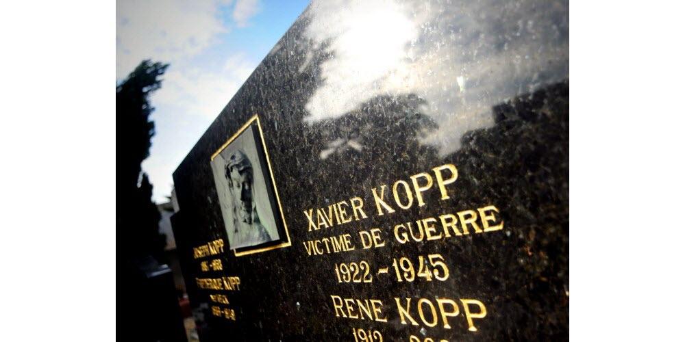 Le nom de Xavier Kopp est inscrit sur la tombe du caveau familial mais sa dépouille ne s'y trouve pas.  Photo DNA / Nicolas Pinot