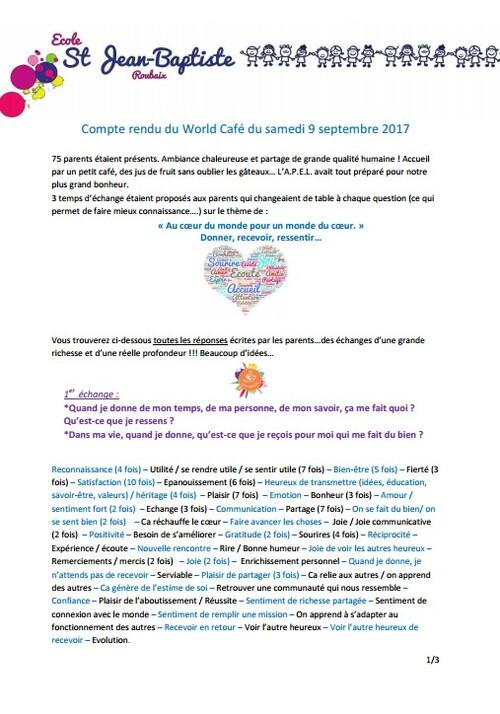 Compte rendu du World Café du samedi 9 septembre 2017