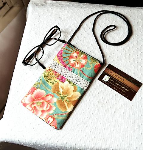Etui tissu coton imprimé japonais floral rose vert molletonné téléphone, lunettes... avec cordon tour de cou et fermeture éclair