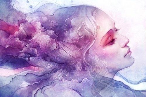 femme en rose et bleu