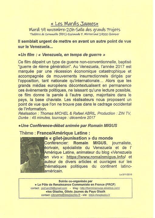 """Le Tro Breiz de la Solidarité au Venezuela Bolivarien fait escale aux """"Mardis Jaunes"""" ce 19/11, 20h, Salle des Grands Projets à Quimper"""