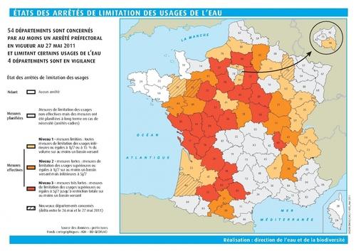 Carte restrictions d'eau tarn 27 mai 2011