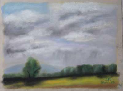 Pastl sec représentant un pré avec un ciel orageux